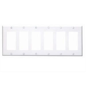 Leviton 80436-W Decora Wallplate, 6-Gang, Thermoset, White