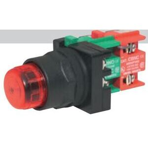 C3 Controls RLPTT125DLR-IPBCRD Pilot Light, Push to Test, Resistor, 125V AC/DC, Red LED Lamp, Red Lens