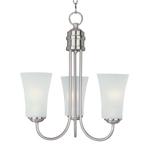 Maxim Lighting 10043FTSN Chandelier, 3-Light, 60W, Incandescent, Satin Nickel