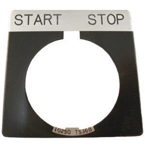 Eaton 10250TS47 30mm Legend Plate, Start-Stop, Black Field