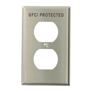 Leviton 84003-G40 Duplex Receptacle Wallplate, 1-Gang, Engraved 'GFCI Protected', Stainless