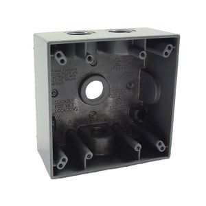 "Hubbell-Raco 5335-0 Weatherproof Outlet Box, 2-Gang, Depth: 2"", Die Cast"