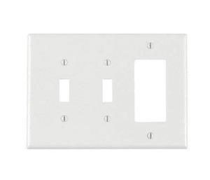 Leviton PJ226-W Combo Wallplate, 3-Gang, (2) Toggle/(1) Decora, Nylon, White, Midway