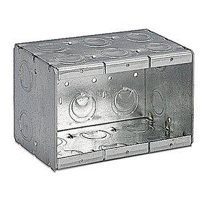 """Steel City 3-MB Masonry Box, 3-Gang, 3-1/2"""" Deep, 1/2"""" & 3/4"""" KOs, Steel"""