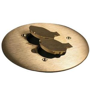 "Wiremold 895 Round Duplex Receptacle Cover, 5-1/2"" Diameter, Brass"