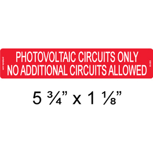 "PV Labels 03-353 PV Solar Label, Photovoltaic Circuits Only, 5 3/4"" x 1 1/8"""