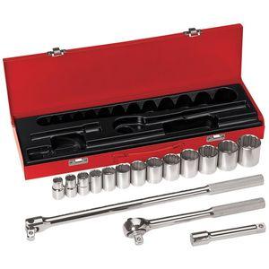 Klein 65512 1/2-Inch Drive Socket Wrench Set, 16-Piece