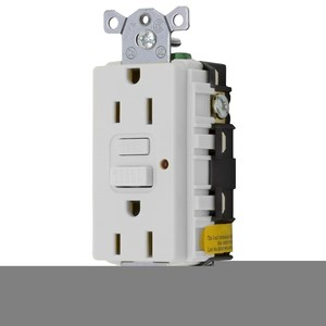 Hubbell-Wiring Kellems GF15OWLA GFCI Receptacle, 15A, 125V, Office White, Auto Grounding *** Discontinued ***