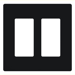 Lutron CW-2-BL Dimmer/Fan Control Wallplate, 2-Gang, Black, Claro Series