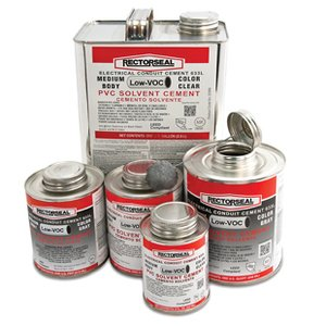 Rectorseal 55985 PVC Cement, Medium Body, Fast-Set, Clear, Size: 1 Quart