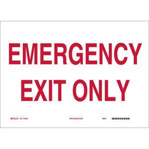 "Brady 22481 Sign, Emergency Exit Only, 7"" x 10"", Indoor/Outdoor"