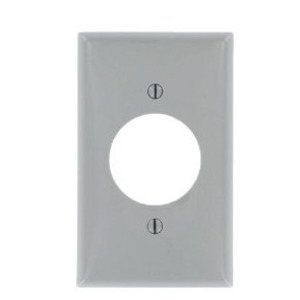 "Leviton 80720-GY 1-Gang Single Rcpt Wallplate, (1) 1.600"" Hole, GR Nylon"