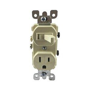 Leviton 5225-I Combination Toggle Switch / Duplex Receptacle, 15A, Ivory