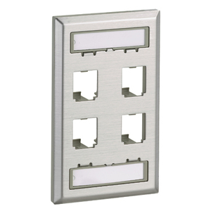 Panduit CFPL4SY Mini-Com®, Wall Plate, Snap-In, 1-Gang, 4 Port, Stainless Steel
