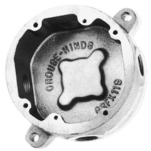 """Cooper Crouse-Hinds GRF12 Conduit Outlet Box Cover, 3/4"""" Hub, Surface Mount, Iron"""