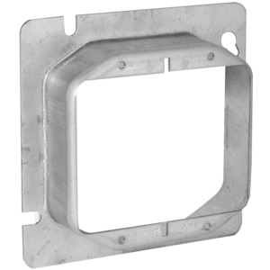 "Hubbell-Raco 820 4-11/16"" Square Cover, 2-Device, Mud Ring, 1-1/4"" Raised, Drawn"