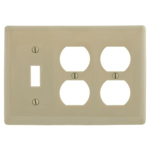 Hubbell-Wiring Kellems NP182I WALLPLATE, 3-G, 1) TOG 2) DUP, IV
