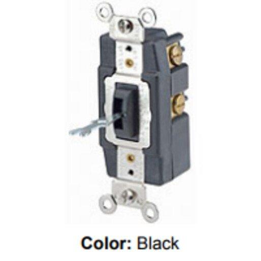 Leviton 1257-L   Leviton 1257-L Single-Pole Locking Momentary Switch, 20A, Double  Throw, Black   Rexel USARexel USA