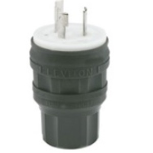 Leviton 28W48-B Locking Plug, 30A, 250V, 2P3W, Wetguard