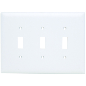 Pass & Seymour TPJ3-W Toggle Switch Wall Plate, 3-Gang, Nylon, White, Jumbo