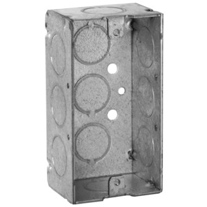 "Hubbell-Raco 650 Handy Box, 1-1/2"" Deep, 1/2"" KOs, Drawn, Metallic"