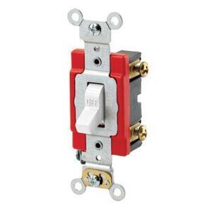 Leviton 1221-2W Toggle Switch, 1-Pole, 20A, 120/277V, Industrial Grade, White
