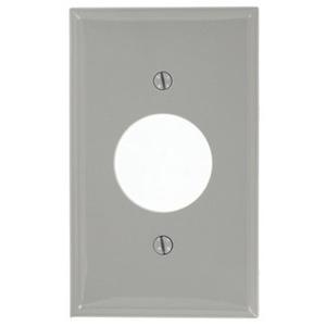 "Leviton 80704-GY 1-Gang Single Rcpt Wallplate, (1) 1.406"" Hole, GY Nylon"