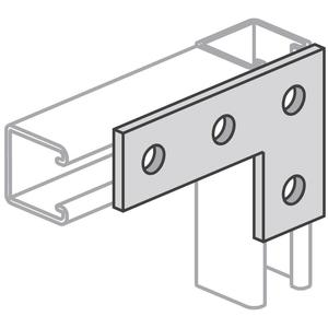 "Power-Strut PS719-EG 4-Hole Flat Angle Plate, 5-3/8"" x 3-1/2"", 9/16"" Bolt, Steel"