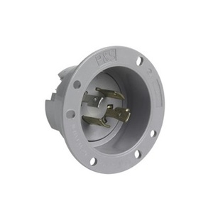 Pass & Seymour L1420-FI Flanged Inlet, 20Amp, 125/250V, Gray