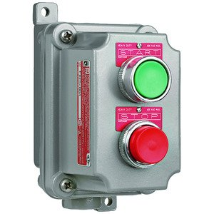 """Hubbell-Killark FXCS-1B4 FXCS Series - Aluminum Dead-End Momentary Contact Double Push Button Control Station - Factory Sealed - Red And Green Buttons With """"Start""""Nameplates - Hub Size 1/2 Inch - 1NO/1NC Contact Rating"""