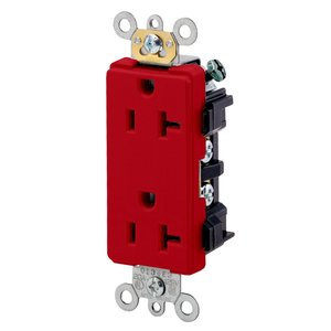 Leviton 16352-R 20A Decora Duplex Receptacle, 125V, 5-20R, Red, Back and Side Wired