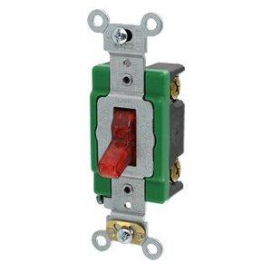 Leviton 3031-PLR Single-Pole Pilot Light Toggle Switch, 30A, 277V, Red, LIT WHEN ON