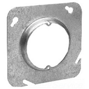 """Cooper Crouse-Hinds TP575 4-11/16"""" Square Cover, Round Opening, Raised 1-1/4"""", Steel"""