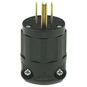 Leviton 5266-CB 15 Amp Plug, 125V, 5-15P, Nylon, All Black, Industrial Grade