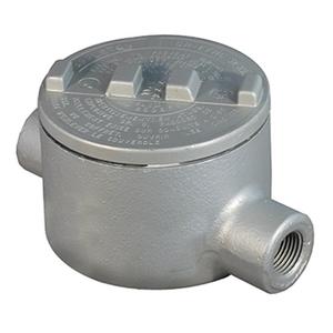 """Appleton GRC50-A Conduit Outlet Box, Type GRC, (2) 1/2"""" Hubs, Aluminum"""