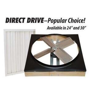 """Ventamatic CX30BD2SPD Belt Drive, 2-Speed Whole House Fan w/ Shutter, 30"""", White"""