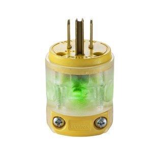 Leviton 515PV-LIT 15 Amp Plug, 125V, 5-15P, Nylon, Yellow, Lighted