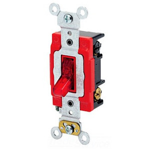 Leviton 1223-PLR 3-Way Pilot Light Toggle Switch, 20A, 120V, Red, LIT WHEN ON