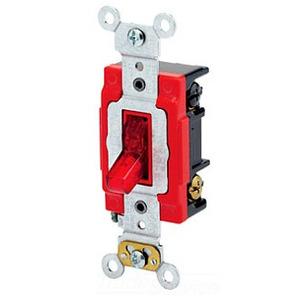 Leviton 1223-PLR 3-Way Pilot Light Toggle Switch, 20A, 120V, Red, LIT WHEN ON