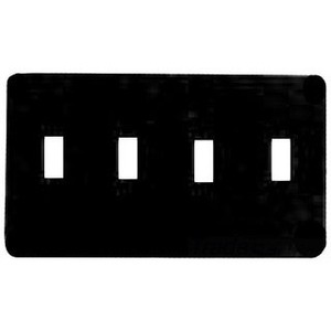 Mulberry Metal 76074 Toggle Wallplate, 4-Gang, Steel, White, Princess