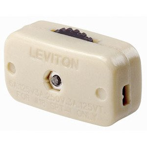 Leviton 423-3I Miniature Feed-Through Cord Switch, ON-OFF, Ivory *** Discontinued ***