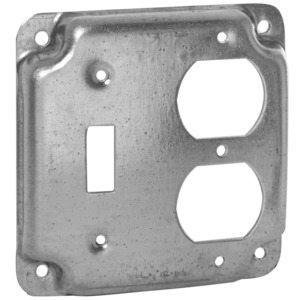 """Hubbell-Raco 906C 4"""" Square Exposed Work Cover, (1) Duplex Receptacle"""