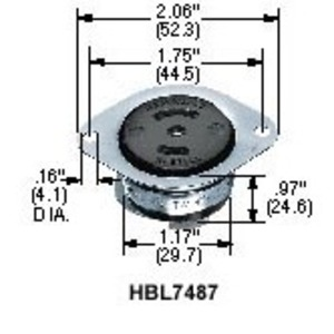 Hubbell-Kellems HBL7487 Locking Flanged Receptacle, 15A, 125/250V, ML-3R, Black