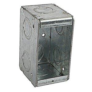 """Steel City 1-MBS Masonry Box, 1-Gang, 2-1/2"""" Deep, 1/2"""" & 3/4"""" KOs, Steel"""