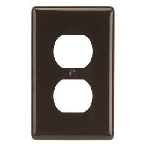 Hubbell-Wiring Kellems NP8 Duplex Receptacle Wallplate, 1-Gang, Nylon, Brown
