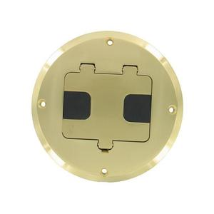 Hubbell-Raco 6239BP Floor Box Assembly, Round Brass Plated, Aluminum Cover