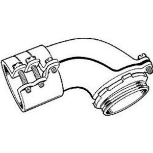 "Hubbell-Raco 2212 Flex Connector, 90°, Squeeze, Non-Insulated, 3"", Malleable"