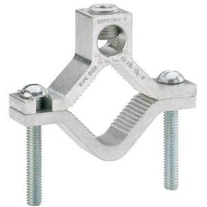"Ilsco AGC-2 Water Pipe Ground Clamp, 1-1/4 to 2"",  6 AWG to 250 MCM, Aluminum"
