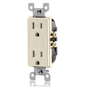 Leviton T5325-T Tamper Resistant Decora Receptacle, 15A, 125V, Light Almond