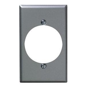 "Leviton 4927 1-Gang Single Rcpt Wallplate, (1) 2.150"" Hole, Alum Steel"